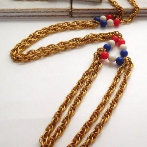 Jewelry - Vintage Red White Blue Gold Chain Tassel Necklace